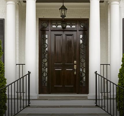 Dark Front Door With White Columns Clopay Dealer