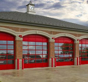 Commercial garage doors at fire station