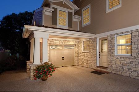 Clopay makes it easier to coordinate the appearance of your garage door and entry door with matching panel designs, finish colors and decorative glass options like the new Clayton leaded glass, shown here on Clopay's Gallery® Collection steel garage door and entry door.
