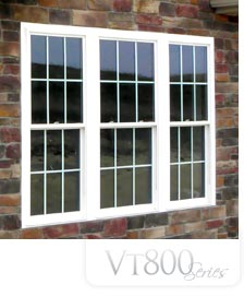 800vt Endure Series Windows in white on a brick wall