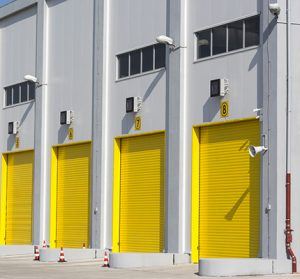 Yellow industrial warehouse doors.