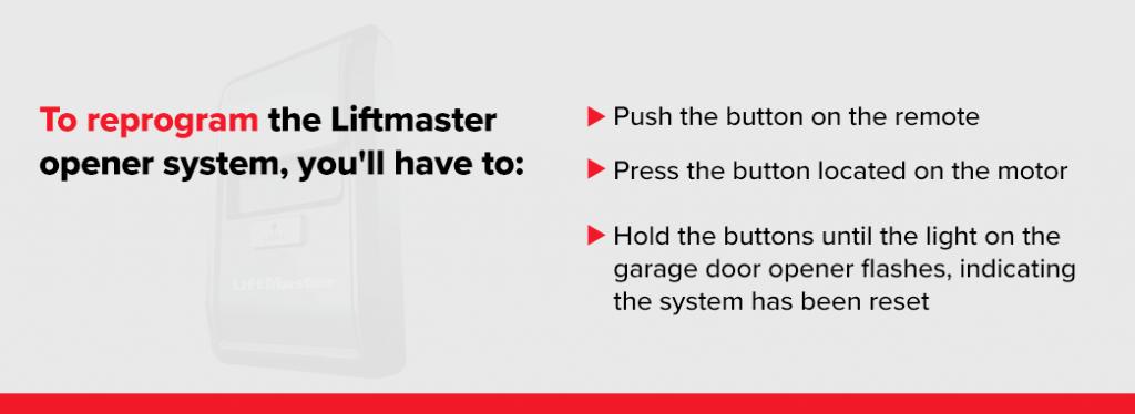How to reprogram your Liftmaster garage door opener